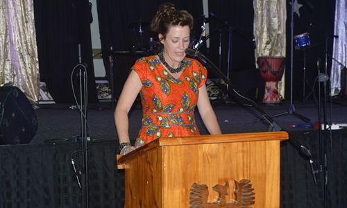 Deputy Principal (pastoral) making her remarks during the ceremony